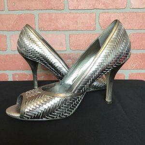 Banana Republic women's silver heels shoes size 10